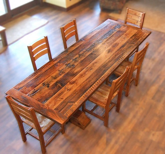 Reclaimed wood timber barron dining set for Wood dining table set