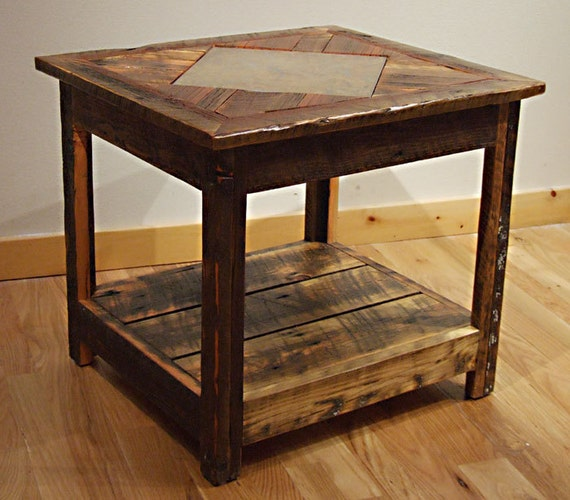 Rustic Wood Side Table ~ Reclaimed barn wood rustic barnwood mosaic end table