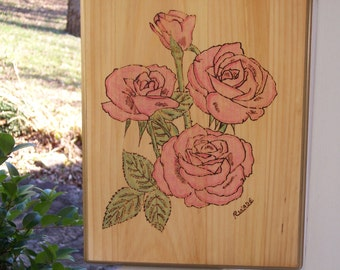 Pink Rose Woodburning Pyrography