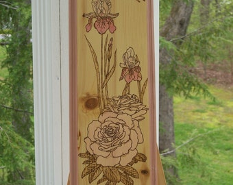 Butterfly With Iris and Rose Woodburning Pyrography