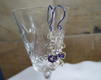 Barrel Weave Chainmaille Heart Earrings - Purple and Silver