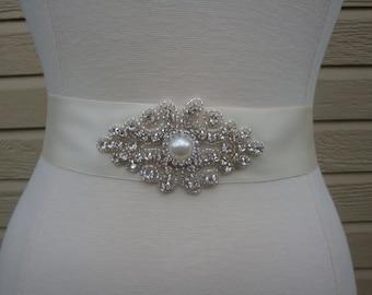 Bridal Sash - Wedding Sash - Wedding Dress Sash - Bridal Sash Belt - Rhinestone Bridal Sash