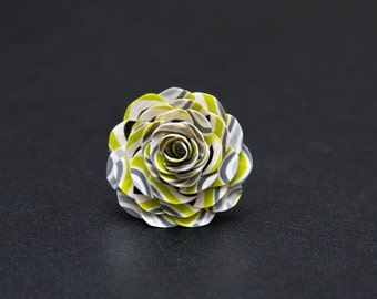 Green and Grey Wave Duct Tape Rose Ring