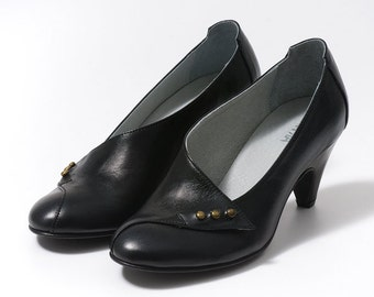 Leather black shoes, high heels elegant shoes