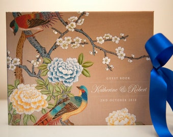 Vintage Personalized Chinoiserie Wedding Guest Book