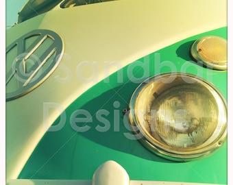 4 x 4 photo card-Caribbean Green VW bus