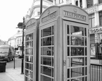 London, England Phone Booth Black and White
