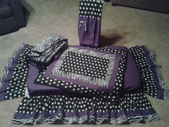 Purple/Zebra/Black & White Polka Dot Crib By