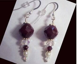 Garnet, Crystal and Pearl Earrings