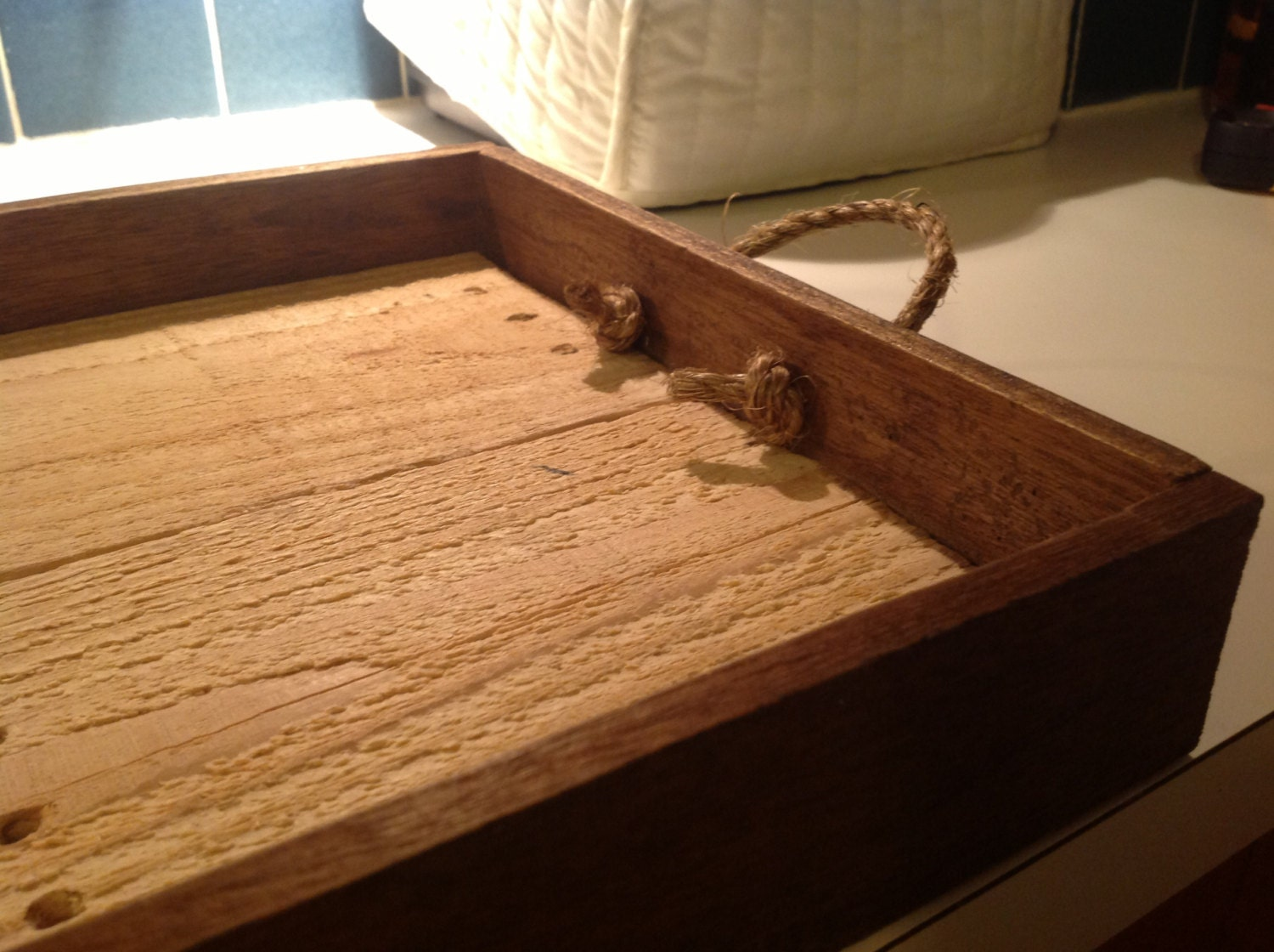 Reclaimed Wood Ottoman ~ Ottoman tray made from reclaimed wood to order