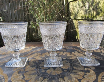 Set of 3 Imperial Glass Cape Cod Pattern Wine/Water Goblet