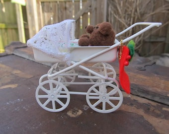 Christmas Miniature Baby Buggy Ornament