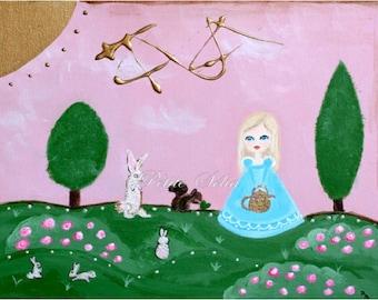Rabbit print 7 x 5