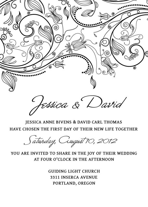 Wedding Invitation Template SET Photoshop - Flowers Foliage- PSD ...