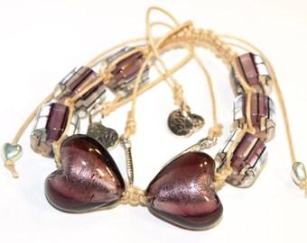 Plum Heart Hope, Love, Feather Shamballa Bracelet