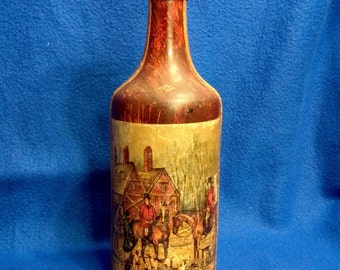 A Painted and Leather covered Bottle