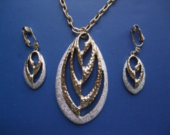 Vintage 1970s Necklace Clip On Earrings Set Sarah Coventry Silver Tone