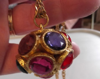 Vintage 1970s 1980s Necklace Pendant Colorful Stones Gold Tone Signed Act II