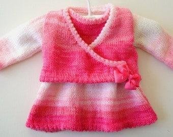 Girl's Dress and Jacket Knitting Pattern, Girl Knitting Pattern for Dress and Jacket, Sleeveless dress and ballerina top, childrens knitting