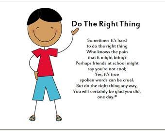 TEEN BOY, SON,  Do The Right Thing - 8.5 X 11 Premium Matte Archival Print - Original Poem