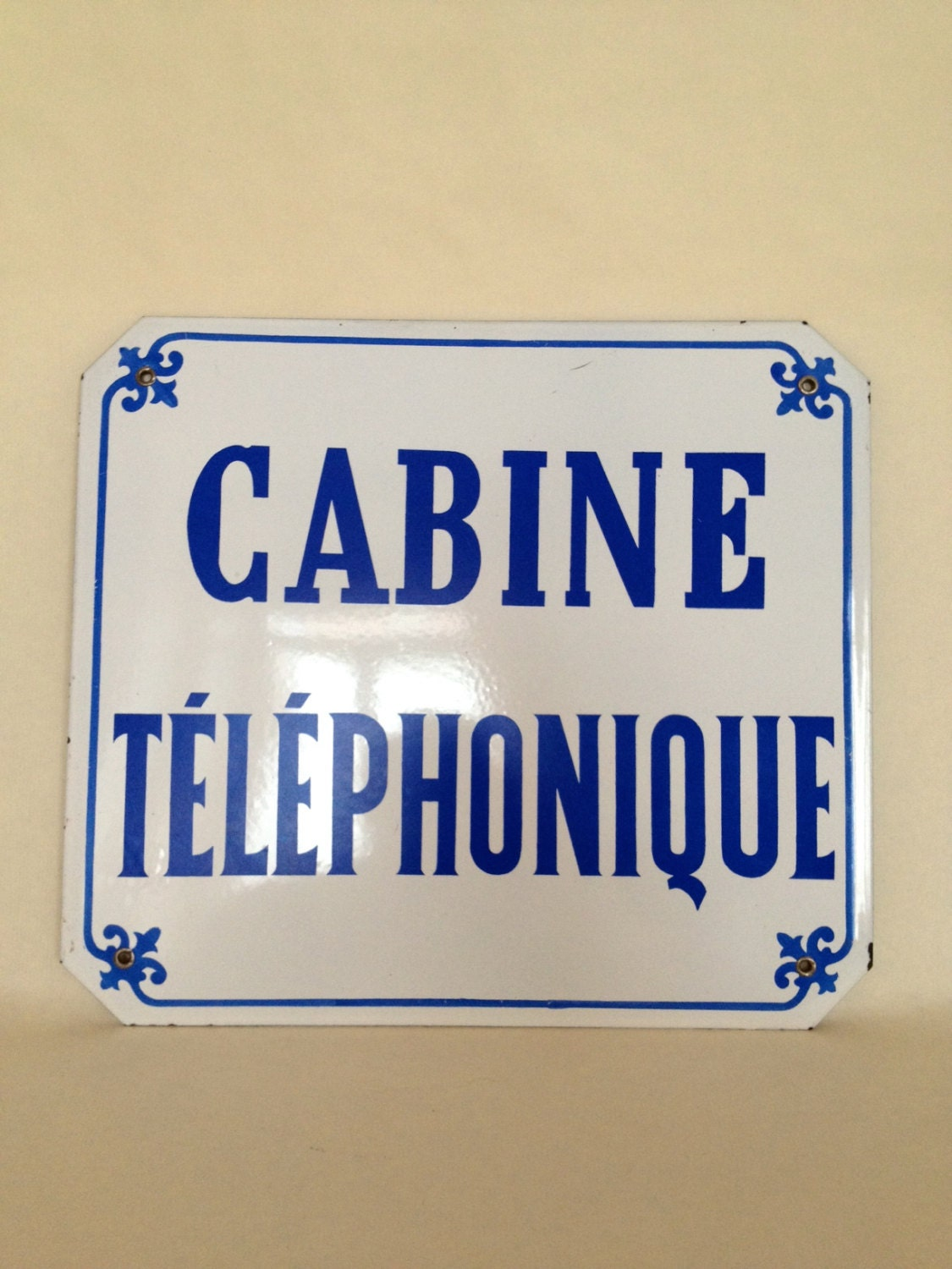 Vintage french enamel cabine t l phonique phone - Etagere cabine telephonique ...