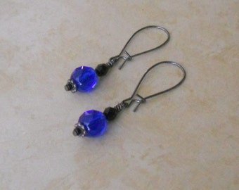 Royal Blue and Black Glass Earrings