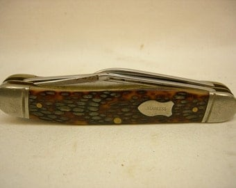 Collectible Vintage WESTERN s-742 USA 3 Blade Folding Knife