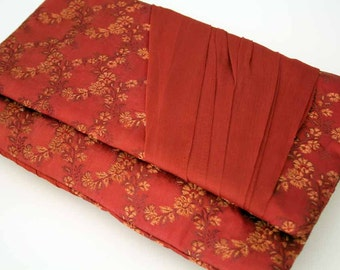 Clutch Bag, Evening Purse, Russet Silk, Chiffon Drape, Wedding, Rust Red, Terracotta, OOAK, UK Seller
