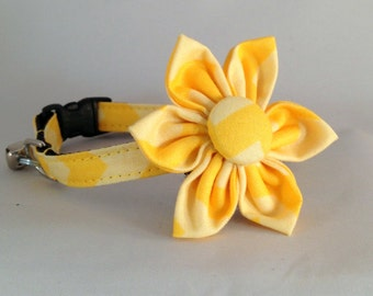 Cat Collar or Kitten Collar and Flower or Bow Tie - Yellow Chevron