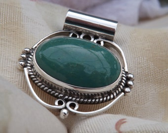 Blue/Green Turquoise and Sterling Silver Pendant