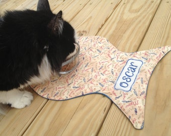 Personalized Fish Shaped Cat Feeding Mat / Cat Placemet