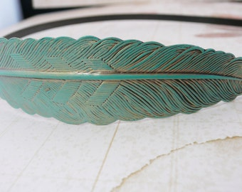 Turquoise feather patina  headband  No. H14