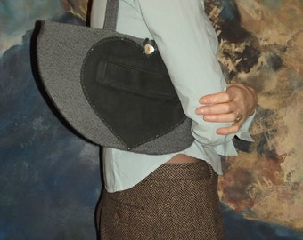 Small Over the Shoulder Dark Green Nubuck and Turquoise Cotton Bag With Heart
