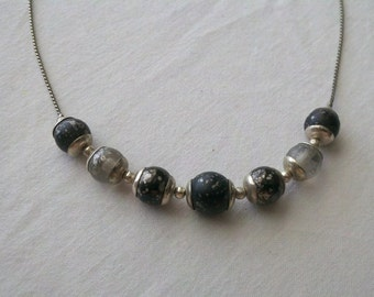 Vintage Silver Tone Necklace with Black, Silver and Clear spotted Beads