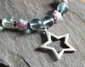 Fluorite beaded necklace with star charm