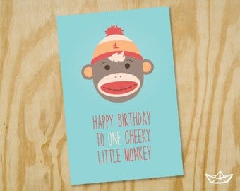 Cheeky Monkey First Birthday Card Printable