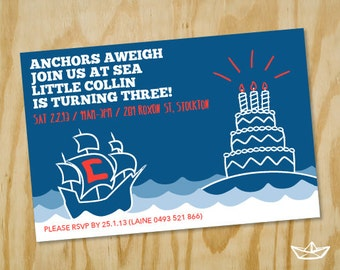 Nautical 1st 2nd 3rd Birthday Party Invitation Printable