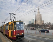 "Warsaw.Poland photography. A4 (8,2""x 11,7"")(21 x 29,7cm) Urban photography.Travel.Tram.Palace of Culture and Science. Europe.Sunny."