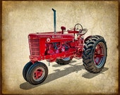 Red Antique International Harvester Tractor from the 1950s E105
