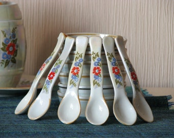 Vintage pearl ceramic honey set for six persons  - Kitchen decor - Made in USSR