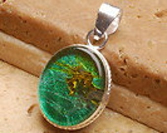 1 1/2 inch long Green  Dichroic Glass  Silver Pendant