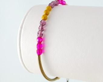 Czech Glass Beaded Bangle Stacking Bracelet Sleek Bright Pink Mustard Purple Antiqued Brass Jewelry