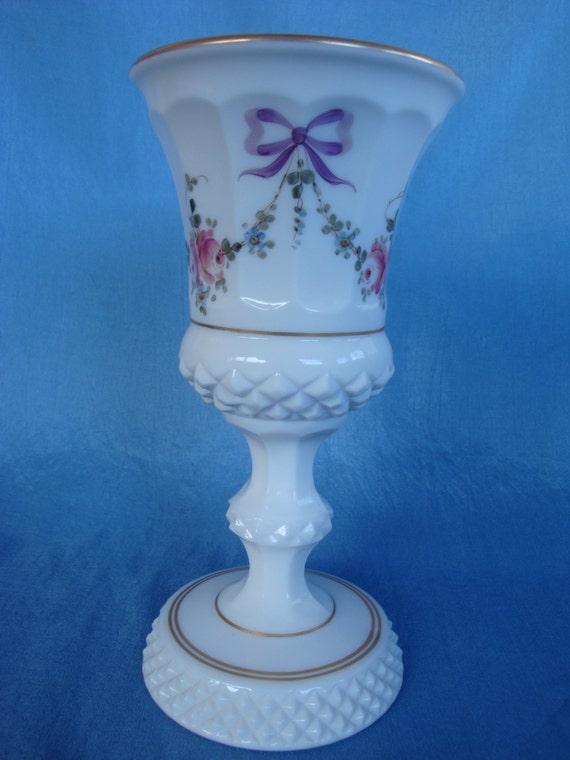 Vintage Westmoreland Handpainted Milk Glass Vase