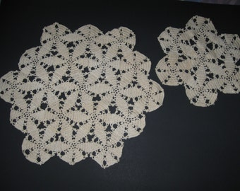 """2 Beige Cotton Doilies - 15"""" x 17"""" and 10"""" wide"""