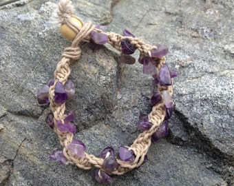 Amethyst hemp bracelet
