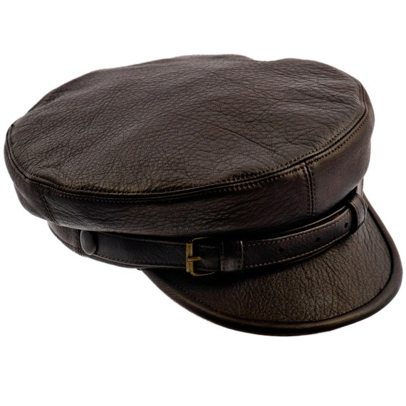 Genuine leather fiddler maciejowka dark brown cap by