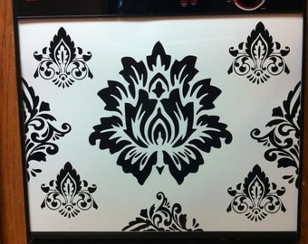 Dishwasher Decorating /Black Vinyl Demask Pattern