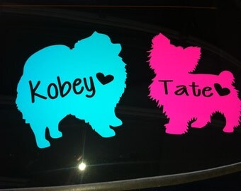 5 inch Dog/Cat Vinyl Decal with name&heart|Custom Pet Decal|Personalized Pet Vinyl Decal|Pet Vehicle Decal