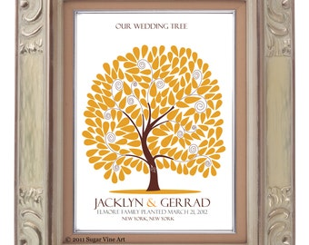 signature GUEST TREE, Modern Keepsake, Unique Wedding Guest Book, Interactive Art Print, 177 guest sign in 20x30, Personalized Print Art 110