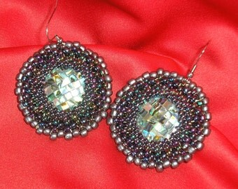 Beaded  mother shell cabachons earrings